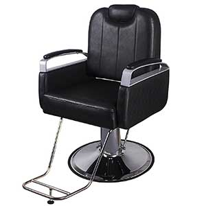 An Image of Walcut Classic Hydraulic Black Swivel Barber Chair