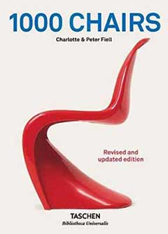 Cover page of 1000 Chairs by Charlotte & Peter Fiell, featuring a red chair