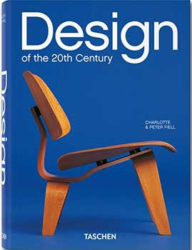 Cover page of the book, Design of the 20th Century by Charlotte and Peter Fiell, featuring a wooden chair on a blue background