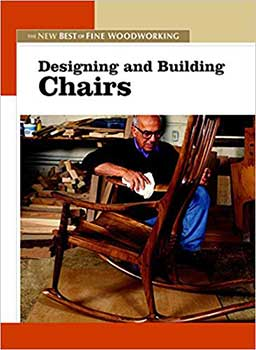 Cover Page of the book, Designing and Building Chairs, featuring an old man with glasses polishing a rocking chair