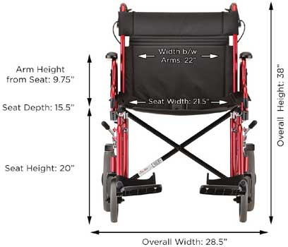 An Image Sample of Specification of NOVA Medical Heavy Duty Transport Wheelchair
