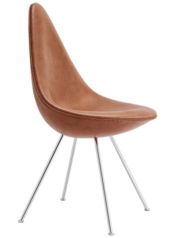 Drop Chair by Arne Jacobsen, Fully Upholstered with Grace Leather