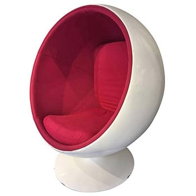 Eero Aarnio Ball Chair Upholstered With Red Kvadrat Fabric