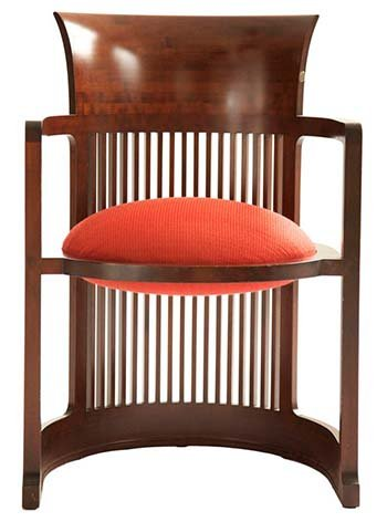 The Barrel Chair with Orange Leather Seat by Frank Lloyd Wright