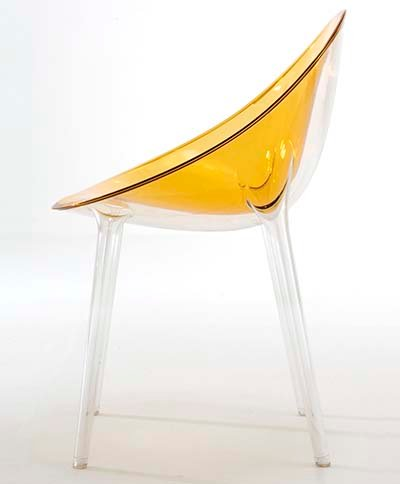 Mr. Impossible Chair by Philippe Starck, Made Out of Polycarbonate With Ochre Color Seat and Transparent Legs