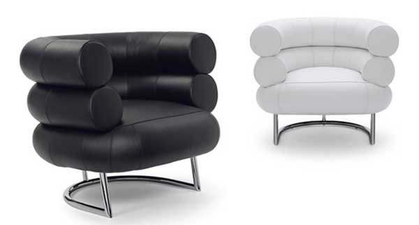 Two Bibendum Lounge Chairs, black (left) and white (right)