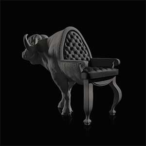 Buffalo Chair, a chair featuring a sculpture of a buffalo's head and front legs for the backrest and back legs
