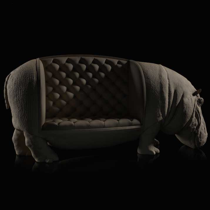Hippo Chair, a chair featuring a hippo sculpture with the seat cushion placed sectioned on the side of its body