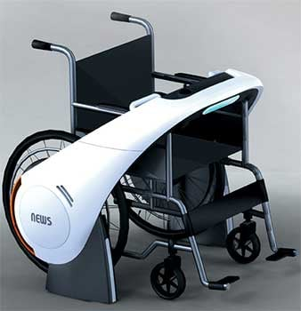 An image of a regular wheelchair with the NEWS technology attached on the wheels
