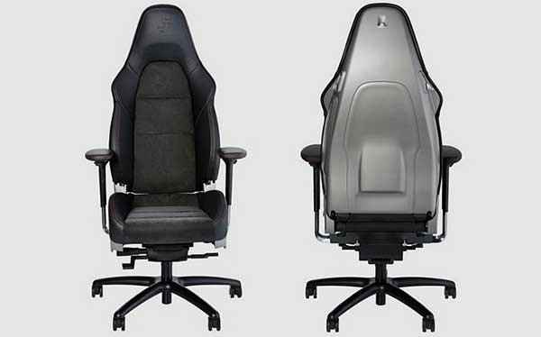 Black and Gray Porsche 911 Office Chair, with a racing chair for the seat on a regular wheeled office chair