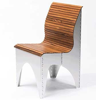 The Shape-Shifting Ollie Chair, featuring an accordion-like wooden seat and backrest