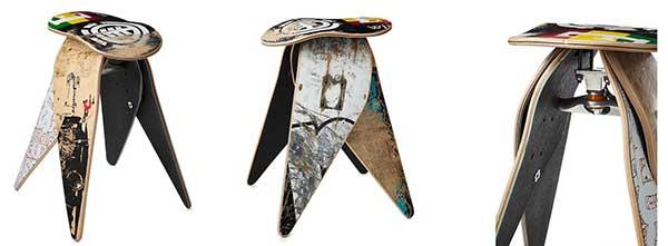 Three views of the Skateboard Stool