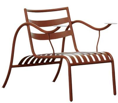 Thinking Man's Chair, a patio chair made of steel with curved arms