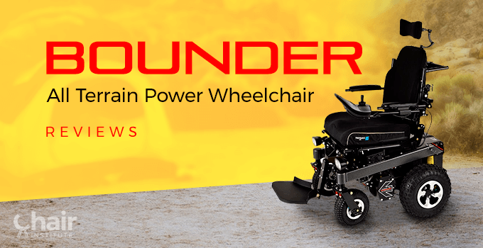A Bounder Plus wheelchair in a dry land campsite