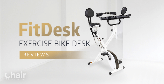 The FitDesk Exercise Bike Desk in a room with white walls