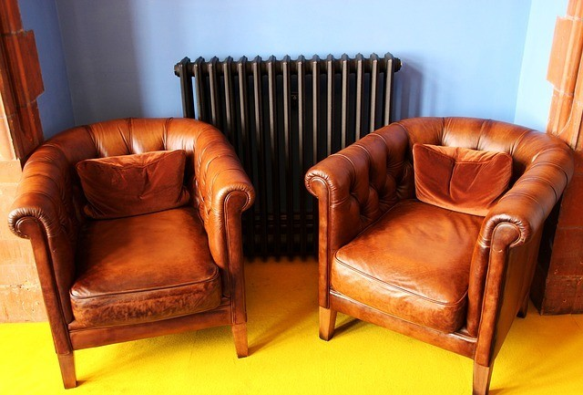 A set of two leather armchairs