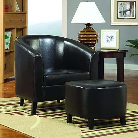 Vinyl Barrel Back Accent Chair with Ottoman
